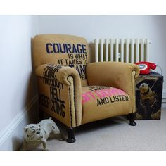 Vintage Armchair Winston Churchill furniture quotes, collectables, memorabilia, never never never give up, a rare armchair for the home designed pay homage U. Recycled Furniture, Industrial Furniture, Vintage Furniture, Vintage Armchair, Furniture Quotes, Furniture Care, Winston Churchill, Churchill Quotes, Unwanted Furniture
