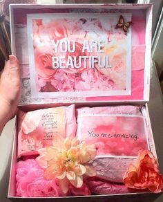 Girly Custom I Love You box aimed to inspire! Thinking of You Gift. Care Package. Get Well Gift. Anniversary Gift. College Care Package.