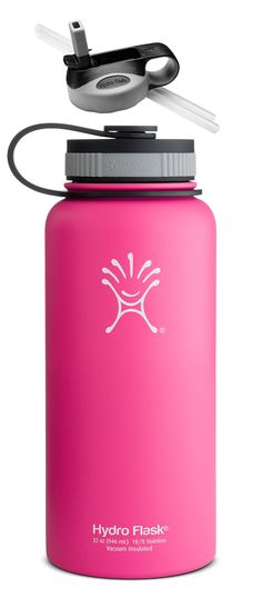 Hydro Flask Insulated Wide Mouth Stainless Steel 32-Ounce Water Bottle,32 oz,Pinkadelic Pink w/Straw Lid