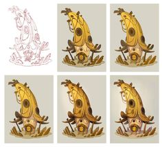 Fantasy concept art and illustration from Charlène Le Scanff AKA Catell-Ruz! 3d Drawing Tutorial, Concept Art Tutorial, Game Concept Art, Drawing Step, Art Environnemental, 2d Art, Art And Illustration, Cartoon Kunst, Cartoon Art