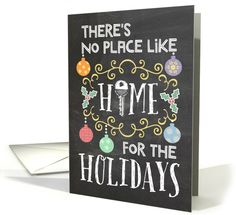 "Announce your new address with true festive style this Christmas with a blackboard-style announcement featuring bright Christmas ornaments, elegant embellishments, holly, a hand drawn house key, and the message: ""There's no place like home for the holidays."" Fantastic and unforgettable way to let your friends, family, and everyone on your Christmas list know you've moved and are celebrating the season in your new home by Corrie Kuipers"