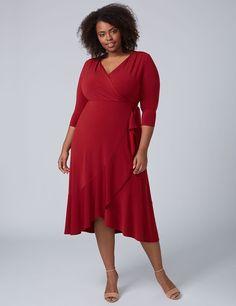 4c074e350c5 3 4 Sleeve Matte Jersey Faux Wrap Dress (original price