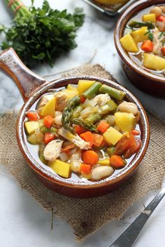 Spring Chicken Vegetable Soup - A simple, hearty, healthy soup perfect for chilly OR warm nights. Filling enough for main meal!