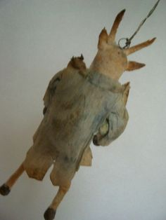 ANTIQUE GERMAN SPUN COTTON  GOAT CHRISTMAS ORNAMENT