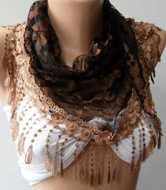 Brown  lace and Elegance Shawl / Scarf  with Lace Edge by womann, $17.90