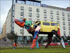 Recycled car sculpture by artist Miina Äkkijyrkkä