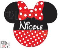 DIY Personalized Disney Inspired Minnie Mouse Ears Printable Iron On Party…