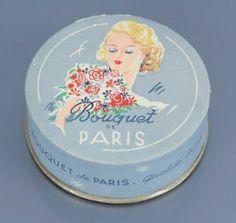 Bouquet de Paris - (années 1945-1950). Rare boite de poudre cylindrique illustrée polychrome créée à l'occasion de la fin de la guerre de 1939-1945