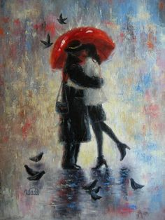 Kiss After Work Art Print, lovers in rain kissing in the rain paintings hugging couples, red umbrella wall decor, Vickie Wade