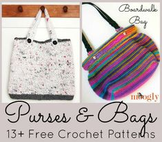 A nice collection of Free Crochet Patterns for purses, bags, totes and clutches including a fun market bag crocheted with 'plarn'.