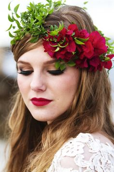 bougainvillea floral crown + red lips | Floral Design by flowertalk.net.au / Photography by hazelbuckley.co.uk/