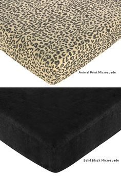 Go wild with this fun micro-suede leopard print crib sheet or ultra modern solid black micro-suede fitted crib sheet., they coordinate perfectly with the Animal Nursery Bedding collection, Animal Safari by Sweet Jojo Designs. Only $18.99 each + Free Shipping
