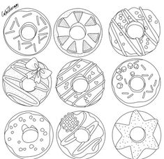 Cupcakes, sorvetes, bolos e doces (Cupcakes, ice creams, cakes and sweets) Pattern Coloring Pages, Colouring Pages, Adult Coloring Pages, Coloring Books, Donut Coloring Page, Coloring Apps, Free Coloring, Donut Pictures, Donut Drawing
