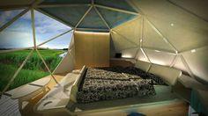 Espacio interior de Domo como alojamiento turístico glamping