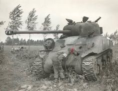 The (76.2mm) OQF 17 Pounder was a great gun on this Firefly, though the M4 Sherman armour wasnt the greatest protection against the Axis forces as this picture shows.