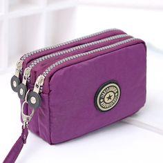 동전 지갑 작은 지갑 세탁기 주름 직물 전화 지갑 세 지퍼 휴대용 가방 Mujer Monederos 파라 Monedas