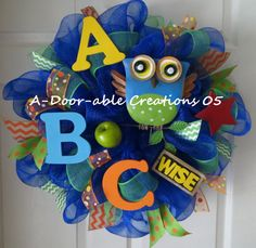 WISE OWL..Teacher..Mesh Wreath by ADoorableCreations05 on Etsy, $65.00