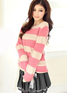 Pink Juniors Stripe Loose Sweater