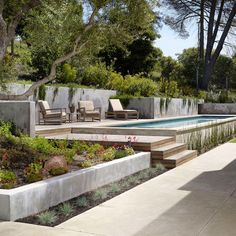Stupefying Pool Designs For Small Spaces Ideas in Landscape Modern design ideas with bushes concrete patio concrete planter concrete wall Pool Retaining Wall, Concrete Retaining Walls, Concrete Pool, Concrete Walls, Cement Patio, Patio Planters, Low Retaining Wall Ideas, Best Above Ground Pool, Above Ground Swimming Pools