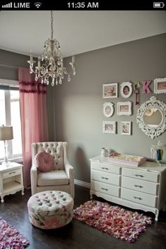 cutest little girl room..... I really like the grey and pink!