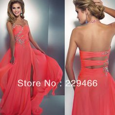 Al1550 Halter Beaded Coral Color Slit  Style Long Open Back Long Sexy Prom Dresses Designers  Latest Fashion 2014 3 040,40 руб.