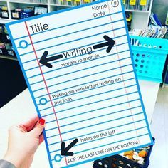 Classroom writing - Lined Paper Guide and Model 3rd Grade Classroom, School Classroom, Classroom Ideas, Future Classroom, Classroom Organization, Writing Lessons, Teaching Writing, Teaching Ideas, Writing Rubrics