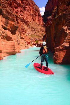 Paddleboarding in the Havasu Creek, Grand Canyon National Park, Arizona #HavasuCreek #GrandCanyonNationalPark #GrandCanyon