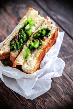 Grilled Cheese Sandwiches with Broccolini, Sautéed Red Onions, & Red Pepper Flakes
