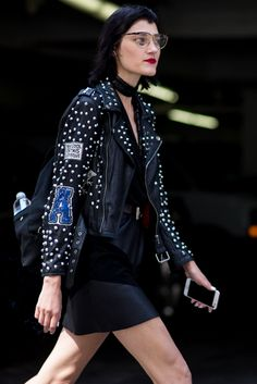 Street style from New York Fashion Week's SS17 shows. Your style takeout? Update your leather biker via patches and badges