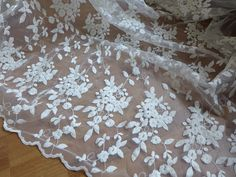 Beautiful Floral Embroidered Tulle Fabric in Ivory by lacelindsay