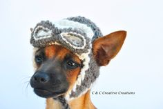 Aviator Dog Hat - Pet Hat - Cat Hat - Dog Costume - Dog Beanie - Hand Crochet - Made To Order by CCCreativeCreations on Etsy https://www.etsy.com/listing/241748168/aviator-dog-hat-pet-hat-cat-hat-dog