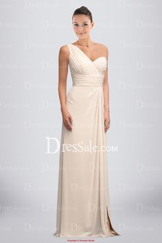 Ethereal Empire Bridesmaid Dress with Asymmetrical Neckline and Front-Split