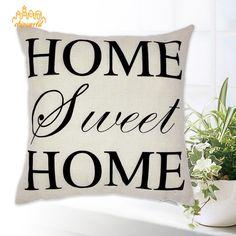 Pillowcases Linen Cotton English Letters Home Throw Cover Pillow Sofe Decor #Unbranded #Pillowcase
