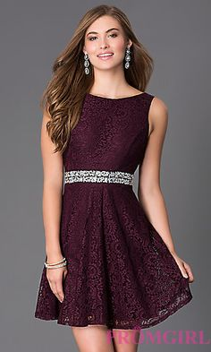 Lace Short Sleeveless Dress with Jewel Waist at PromGirl.com