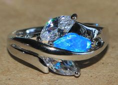 blue fire opal white topaz ring silver jewelry Sz 5.75 chic cocktail style BZ0 #Cocktail