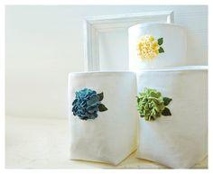 Flower Box bin basket Storage Set Weddings decor (50% Deposit Available) Gift Wrap Red Orange Yellow White Linen Fabric Organizer tagt team. $86.00, via Etsy.