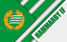 Download wallpapers Hammarby IF, 4k, logo, material design, Swedish football club, white green abstraction, Allsvenskan, Stockholm, Sweden, football, Hammarby FC