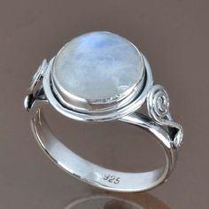 925 STERLING SILVER POPULAR RAINBOW MOONSTONE RING 5.13g DJR9054 SZ-9.5 #Handmade #Ring