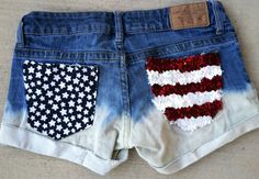 Blingy American Flag Shorts!!