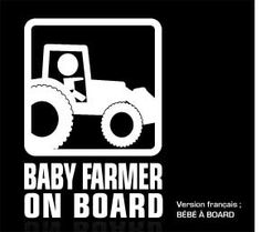 """Baby on board sticker. This baby farmer on board is a premium quality car decals. Size : 5.5"""" x 8"""" Price : $5.99 us with free shipping. From www.baby-onboard.com/baby-on-board-catalog.html"""