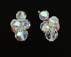 Vintage aurora borealis crystal screw back earrings by CardCurios on Etsy Rainbow Light, Screw Back Earrings, Aurora Borealis, Vintage Earrings, Vintage Silver, Sterling Silver, Crystals, Antiques, Trending Outfits