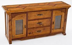 Antique Wood Sideboard - Arched Doors with Inlay Top
