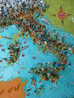 Sara Drake - 3D illustrated map of Italy - papier mache, acrylic paint, balsa wood and mixed media