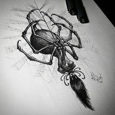 No photo description available. Dark Art Tattoo, Gothic Tattoo, Tattoo Flash Art, Body Art Tattoos, Spider Art, Spider Tattoo, Blackwork, Tattoo Design Drawings, Tattoo Sketches