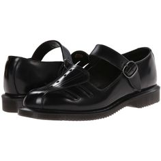 Dr. Martens Deardra Low Cut Mary Jane (Black Polished Smooth) Women's... ($70) ❤ liked on Polyvore featuring shoes, black, black shoes, leather mary jane shoes, black maryjane shoes, shiny black shoes and anti slip shoes