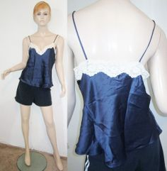 NWT CHRISTIAN DIOR 100% Silk Navy Lustrous Stretchy Lace Cami Top L...http://stores.shop.ebay.com/vintagefluxed