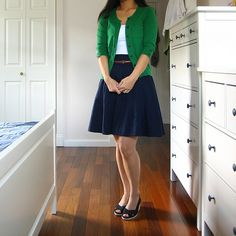 From Complex Cardigans.  Perfect outfit!  I love the green cardigan. ~Kelsey #kelseyhough