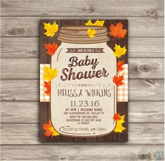 Fall Leaves Autumn Baby Baby Shower Rustic Fall Invitations theme Gender Neutral Wood Gender Reveal Farm Burlap Our Little Pumpkin Country