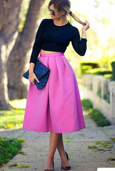 A-line textured knee length skirt pink purple. Black crop long sleeved top. Party wedding event outfit autumn winter spring.