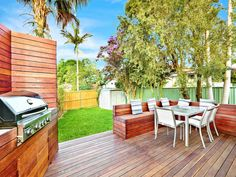 Outdoor benches and bbq area on deck Outdoor Living Areas, Outdoor Rooms, Outdoor Patios, Outdoor Decor, Outdoor Kitchens, Outdoor Furniture Sets, Pallet Furniture, Living Spaces, Deck Seating